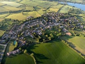 Ravensthorpe village in Northamptonshire, taken from from above.