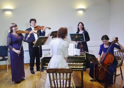 Five piece Fiori Musicali play at Ravensthorpe Village Hall.
