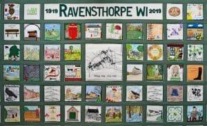 Ravensthorpe WI wall hanging at Ravensthorpe Village Hall.