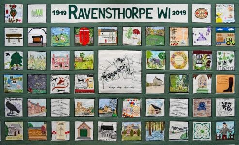 Ravensthorpe WI wall hanging at Ravensthorpe Village Hall.